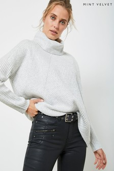 Mint Velvet Grey Roll Neck Ribbed Jumper