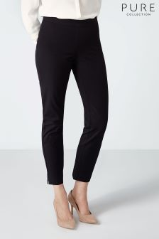 Pure Collection Black Cotton Stretch Crop Trouser
