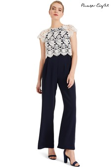 Phase Eight Blue Katy Lace Jumpsuit