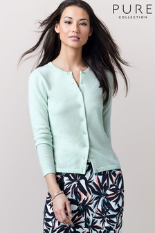 Pure Collection Green Cashmere Crew Neck Cardigan