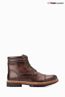 Base London® Brown Buck Burnished Lace-Up Boots