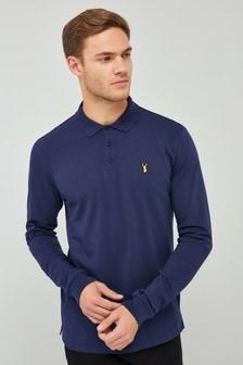 Рубашка поло с длинным рукавом и нашивкой