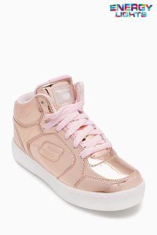 Skechers® Gold Metallic Mid Top Energy Lights Lace-Up Sneaker