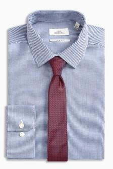 Textured Slim Fit Shirt And Tie Set