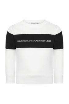 Calvin Klein Jeans Boys White Cotton Sweat Top