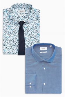 Plain And Print Slim Fit Shirts Two Pack With Tie