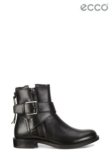 ECCO® Black Side Zip Boot With Buckle Detail