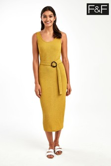 F&F Khaki Tie Front Midi Dress