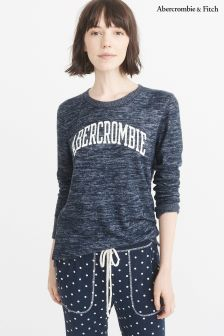 Abercrombie & Fitch Navy Logo Long Sleeve Top