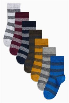 Rugby Stripe Socks Seven Pack (Older)