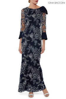 Gina Bacconi Blue Taryn Embroidery Maxi Dress