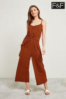 F&F Burgundy Ring Detail Culotte Jumpsuit