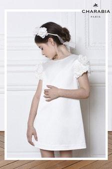Charabia White Flower Sleeve Dress