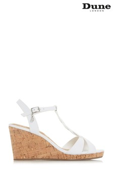 Dune London White Koala T-Bar Wedge Sandal