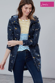 Joules Golightly Printed Waterproof Packaway Coat