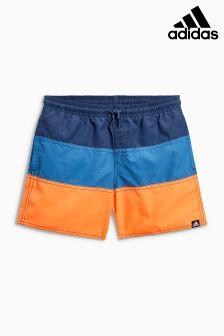 adidas Blue/Orange Colourblock Swim Short