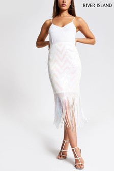 River Island White Sequin Chevron Tassel Hem Skirt