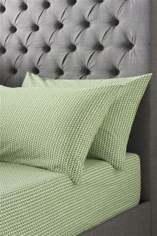 Green Leaf Pillowcases And Fitted Sheet