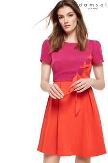 Damsel In A Dress Purple Ciana Colourblock Bow Detail Dress