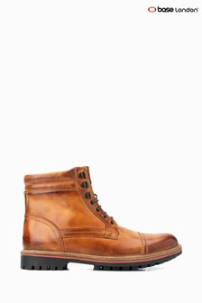 Base London® Tan Buck Burnished Lace-Up Boots