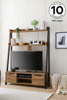 Bronx Oak Effect Storage TV Ladder Shelf