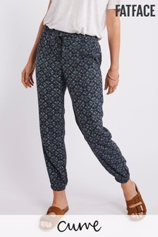 FatFace Blue Ceramic Geo Cuffed Trouser