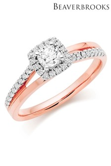 Beaverbrooks 18ct Rose Gold Diamond Halo Ring