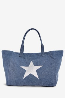 Star Print Canvas Shopper