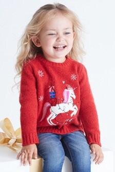 Božični pulover s samorogom (3 mesecev–7 let)
