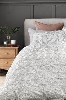 White All Over Pleated Meadow Sprig Duvet Cover and Pillowcase Set