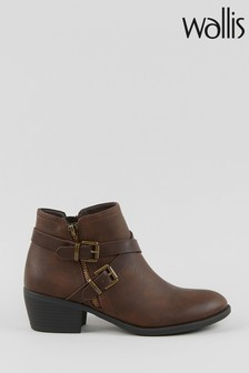 Wallis Avenger Brown Double Buckle Boots