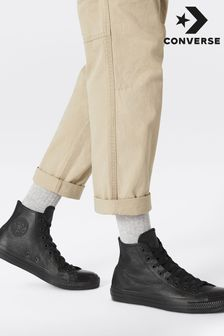 Converse Black Leather Chuck Hi Trainers