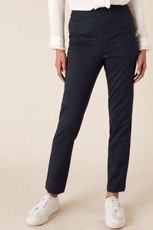 Monsoon Blue Smart Jacquard Trousers