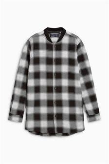 Long Sleeve Rib Collar Check Shirt (3-16yrs)