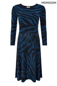 Monsoon Blue Zebra Jacquard Dress