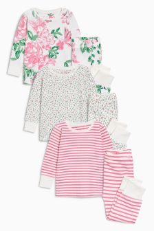 Floral Snuggle Pyjamas Three Pack (9mths-8yrs)