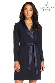 Adrianna Papell Blue Knit Crepe Tuxedo A-Line Dress