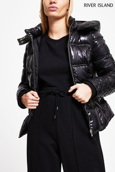 River Island Black Clean Fitted Padded Jacket