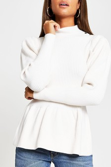River Island Cream Structured Peplum Jumper