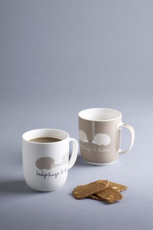 Set of 2 Hedgehug And Kisses Mugs