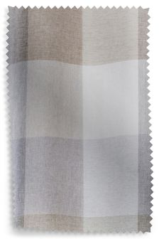 Natural Block Check Curtain Fabric Sample