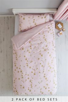 2 Pack Metallic Stars Bed Set