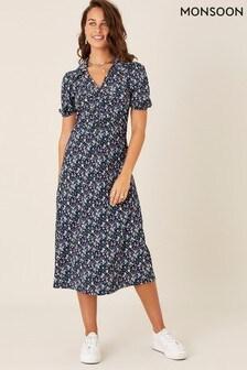 Monsoon Black Floral Print Jersey Midi Dress