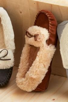 Chaussons mocassins en daim haut de gamme