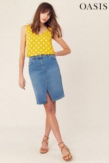 Oasis Blue Split Front Pencil Skirt