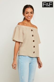 F&F Neutral Button Detail Bardot Top