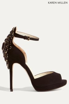 Karen Millen Black Ltd Jewel Back Collection Two Part Sandal