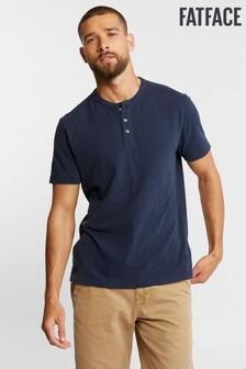 FatFace Blue Slub Henley T-Shirt