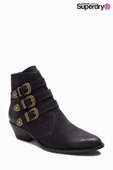 Superdry Dark Navy Rodeo Buckle Ankle Boot