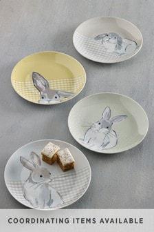Dessertteller mit Hasenmotiv, 4er-Set